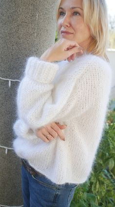 Fluffy White mohair sweater Loose knit sweater Sweater for women Women sweater Sweaters for women Mohair sweater Fluffy Sweater, Angora Sweater, Gros Pull Mohair, White Sweater Outfit, Loose Knit Sweaters, Knitwear Fashion, Sweaters For Women, Knitting, Pay Attention