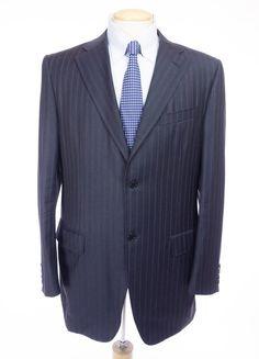 CANALI Suit IT 52 Long US 42 L Navy Pink Pinstripe 2Btn Jacket Wool AL 14220/40 #Canali #TwoButton
