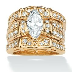 3.05 TCW Marquise-Cut Cubic Zirconia 18k Yellow Gold over Sterling Silver Bridal Engagement Set Palm Beach Jewelry. $119.99