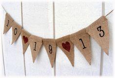 Engagement WEDDING Banner in rustic burlap, photo prop for rustic, barn or vineyard venues. $16.00, via Etsy.