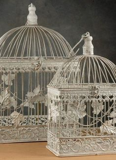 NEW Wedding Card Holder Birdcages White Metal Set of 2 Decor Decorative Antiqued