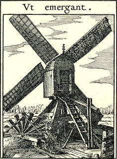 "Visscher's Windmill 17th century emblem book windmill pumping water out of the land ""that they may rise up"""