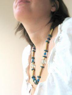Handmade glass beads necklaces with brass by murmurbeads on Etsy