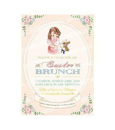 Digital PRINTABLE Vintage Celebrate EASTER Brunch Bunny Egg Hunt Birthday Tea Party Girl Children Baby Shower Invitation Cards Sheet IN51