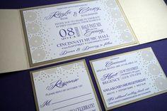 gold ivory deep purple modern sleek cirlce and dot invite by eLeSinvitationsLLC on Etsy