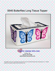 Butterfly Long Style Tissue Topper-Plastic Canvas Pattern-PDF Download