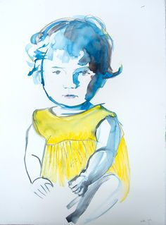 by Zosia Noga, From series: Children. Birdy, watercolour and pencil on paper, Watercolour, Disney Characters, Fictional Characters, Cinderella, Pencil, Paintings, Disney Princess, Children, Paper