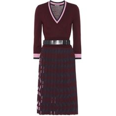 Bottega Veneta Belted Wool Dress (2,760 CAD) ❤ liked on Polyvore featuring dresses, red, woolen dress, bottega veneta dress, red dress, belted dresses and red wool dress