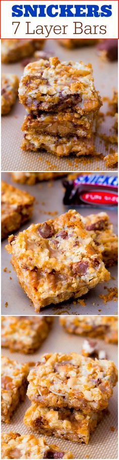 Homemade Snickers Bars - these popular bars are my homemade caramel-infused, 7 layered version of a Snickers Bar!