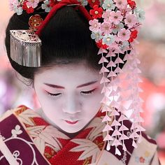 This is a junior maiko: note her lower lip is only painted. The majority of red on her embroidered collar, and long kanashi (ornament) silk petals.
