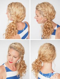 30 Curly Hairstyles in 30 Days - Day 3 - BRAIDED SIDE PONYTAIL TUTORIAL - Hair Romance