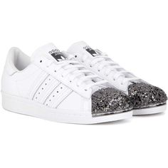 Adidas Originals Superstar 80s Metal Toe Leather Sneakers ($170) ❤ liked on Polyvore featuring shoes, sneakers, white, 1980s sneakers, adidas originals, white trainers, 80s shoes and metal sneakers