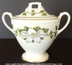 Homer Laughlin China Eggshell Georgian, Cotillion Pattern Sugar Bowl.
