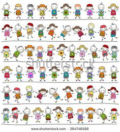 Illustration of cute kids pattern, childlike style drawing vector art, clipart and stock vectors. Art Drawings For Kids, Drawing For Kids, Easy Drawings, Doodle Art, Doodle People, Magazines For Kids, Kids Patterns, Bullet Journal Ideas Pages, Stick Figures