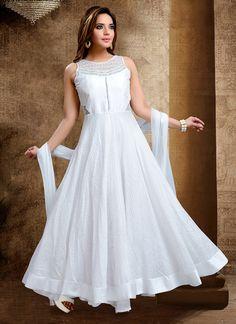 White Art Silk Anarkali Suit