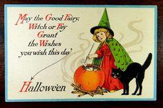 Witch Black Cat Halloween Postcard