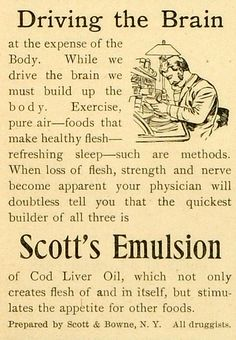 This is a small original 1893 black and white print ad for the Scott's Emulsion from Scott and Bowne located in New York. CONDITION This 118+ year old Item is rated Near Mint / Very Fine. No creases.