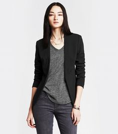 Banana Republic Cutaway Soft Blazer black jacket |  The Only 6 Pieces You Ever Really Need to Invest In via @WhoWhatWear