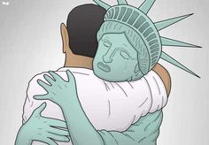 This image literally brings me to tears...for our country and our President. Lady Liberty says farewell to the amazing Barack Obama.