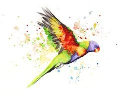 Parrot Boba art Watercolor Painting Art Print Cute
