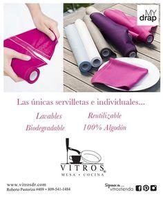 En Vitros tenemos las únicas servilletas e individuales de tela que son reutilizable hasta 6 veces, biodegradables y 100% algodón y lino. Ven a Vitros y pregunta por My Drap, te contagiaras de tanto colorido.