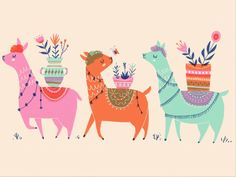 Alpaca Friends by Erin Wallace How To Juggle, Yarn Store, Kids Patterns, Printing On Fabric, Pattern Design, Rooster, Cute, Animals, Image