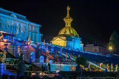Peterhof Palace at night. St. Petersburg. Russia