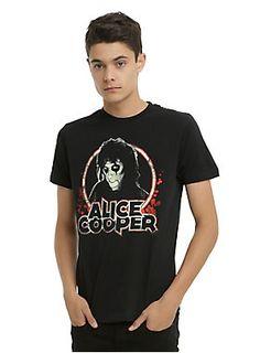<p>Black T-shirt from Alice Cooper with a faded & distressed Alice Cooper portrait logo design on front.</p><ul><li>100% cotton</li><li>Wash cold; dry low</li><li>Imported</li><li>Listed in men's sizes</li></ul>