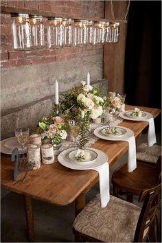 Mason Jars light fixture, brick wall & wood