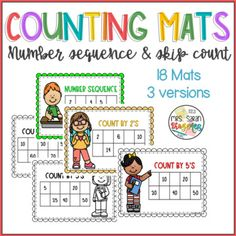 Counting boards to practice number sequence, counting by by and Amazing hands-on resource for number sense practice. Great for guided math, learning centers, and early finishers. Learning Centers, Math Centers, Fun Learning, First Grade Curriculum, First Grade Science, Elementary Math, Kindergarten Math, Math Resources