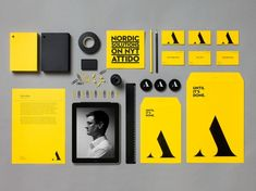 Helsinki-based creative agency Bond designed a new identity for Attido. The main ingredients of the branding are the colors yellow and black, a barless 'A' not unlike in the über-contrasty Dala Floda, and Neutraface No. Corporate Identity Design, Brand Identity Design, Graphic Design Branding, Logo Design, Visual Identity, Brand Design, Personal Identity, Personal Logo, Brochure Design