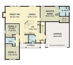 Ranch House Open Floor Plans | Open Floor Plan Ranch (HWBDO75947) | Ranch House Plan from ...