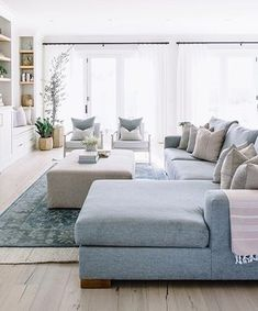 Best Grey wood floors for Interior design - The living room is normally the area in a home where the whole family gathers. Living Room Wood Floor, Blue Living Room Decor, Living Room Sofa, Home Living Room, Living Room Designs, Grey Wood Floors, Living Room Inspiration, Furniture Inspiration, Home Interior Design