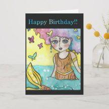 happy birthday mermaid note card