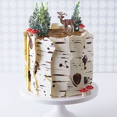 Birch Log Cake! Learn how to make this wintry, birch cake that looks just like a natural birch branch with a simple step-by-step tutorial