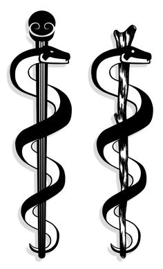 Dislike this style. Staff of Asclepius - symbol for osteopathic medicine.
