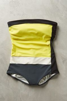 #anthrofave Touche Colorblocked Maillot Yellow S Swimwear