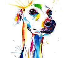 Colorido Husky siberiano arte Print  impresión de por WeekdayBest