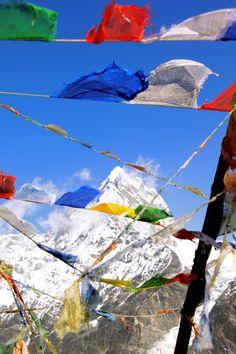 Tibetan prayer flags on the climb to Mount Everest, Nepal