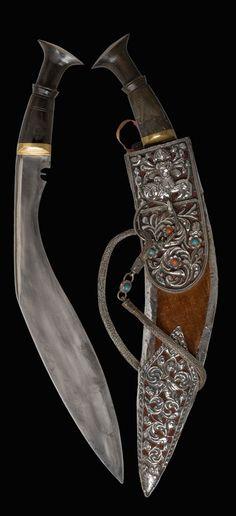 KUKRI KOTHIMORA,19th century.  Nepal  Steel, black buffalo horn, wood, velvet, silver