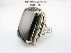 Estate Art Deco Sterling Silver 925 Black Onyx Ring Size 5.25 #Unbranded #Solitaire