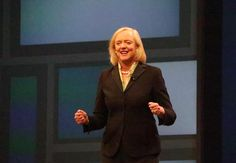 Meh Whitman shows off her invisible jet pack. Better than #wonderwoman plane! #hpediscover #geekout