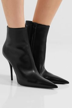 Heel measures approximately 110mm/ 4.5 inches Black leather Zip fastening along side Made in Italy