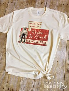 Rockin A Ranch sign graphic tee / ivory t-shirt / Eat More Beef graphic tee, western, Rockin A Design, tee, t shirt, Vintage, cowboy, cowgirl, vintage cowboy, retro, ranch, eat more beef, retro sign, western chic, cattle ranch, vintage cowboy cowgirl