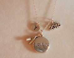 Silver Survivor with 2015 and Initial Necklace