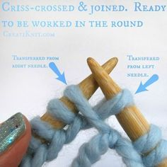 Learn How to Join in the Round With Circular Knitting! 2019 Picture of The Two Stitches You Transferred Will Look Criss-crossed The post Learn How to Join in the Round With Circular Knitting! 2019 appeared first on Knit Diy. Knitting Help, Easy Knitting, Knitting Stitches, Knitting Socks, Knitting Wool, Circular Knitting Patterns, Knit Patterns, Stitch Patterns, Knit Basket