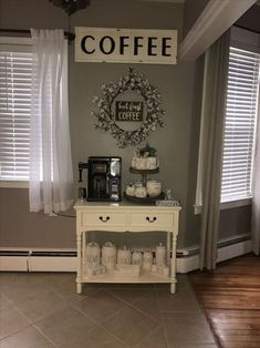 Coffee bar, cotton wreath, farmhouse decor