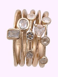 Just Jules rings: 14 Karat stackable rose cut diamond rings