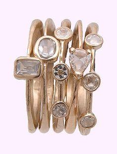 Just Jules Stackable Rose Cut Diamond Rings
