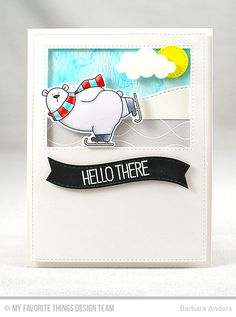 Handmade card from Barbara Anders featuring Birdie Brown Polar Bear Pals stamp set and Die-namics, Whimsical Waves Background stamp, and Stitched Snow Drifts, Puffy Clouds, Stitched Cover-Up Companion - Vertical, Blueprints 13, Blueprints 21, and Blueprints 25 Die-namics #mftstamps